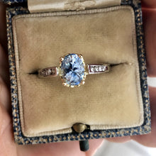 Load image into Gallery viewer, Estate Bluish-Lilac Sapphire Solitaire Engagement Ring Platinum & 18K