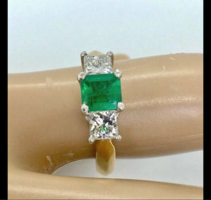Colombian Emerald & Diamonds Platinum-18K Three Stone Ring