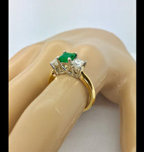 Load image into Gallery viewer, Colombian Emerald & Diamonds Platinum-18K Three Stone Ring
