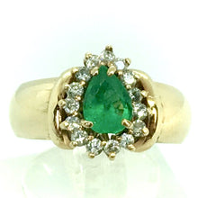 Load image into Gallery viewer, Vintage Natural Emerald & Diamonds Ring 18K
