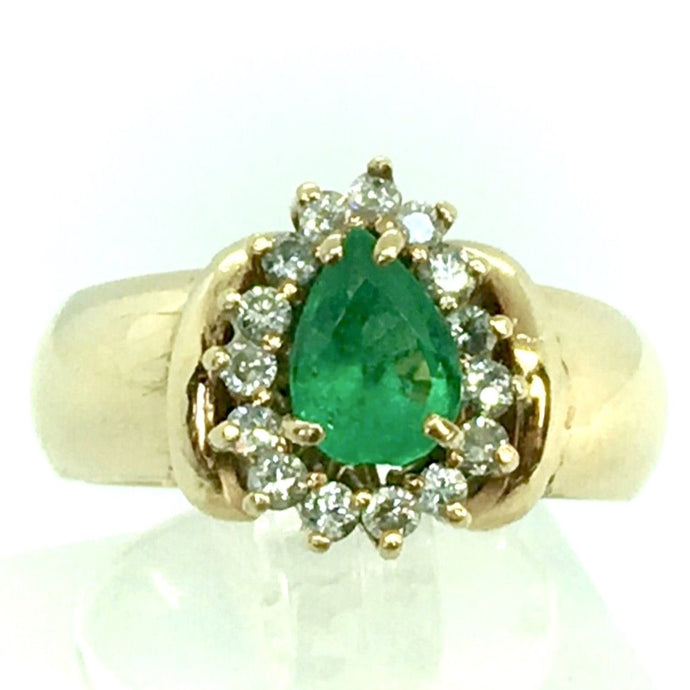 Vintage Natural Emerald & Diamonds Ring 18K