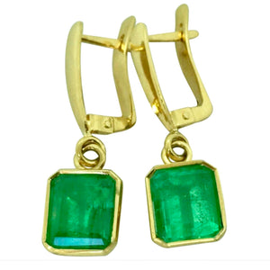 Fine Drop Colombian Emerald Earrings Bezel Set 18K