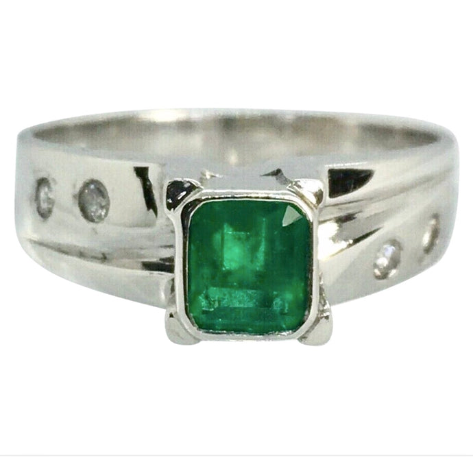 Natural Fine Colombian Emerald Diamonds Solitaire Ring White Gold 18K