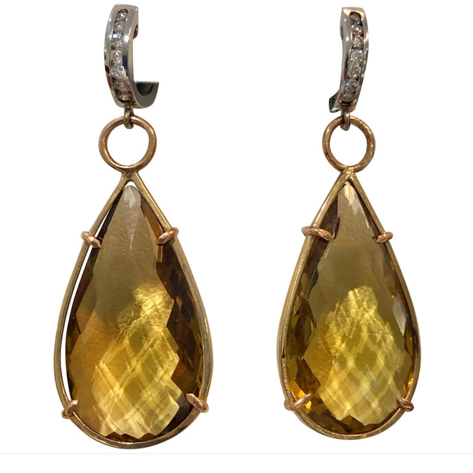 Large 45.25 Carat Citrine Diamond  Hanging  Earrings 14K