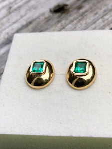 Dome Earrings Colombian Emerald 18k Gold