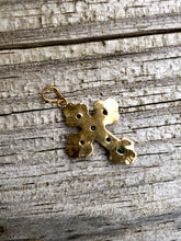 Load image into Gallery viewer, 18k Yellow Gold Green Emerald Cross Charm Pendant