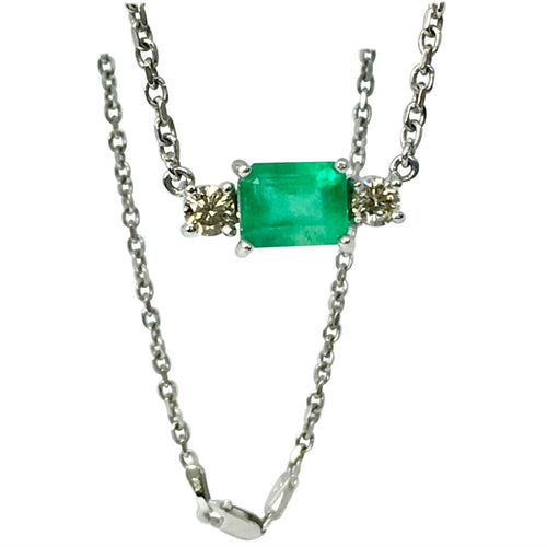 Colombian Emerald Diamond Pendant Necklace 18 Karat