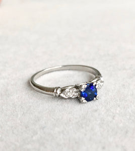Platinum Art Deco Blue Sapphire Diamond Engagement Ring