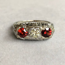 Load image into Gallery viewer, 40's Antique Art Deco Filigree 3 Stone Diamond Spinel Ring 18k