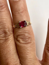 Load image into Gallery viewer, Original Art Deco Ruby Platinum 18k Yellow Gold Ring