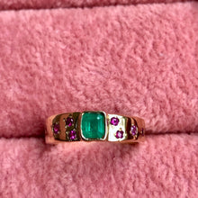 Load image into Gallery viewer, Natural Emerald Ruby Band Ring Rare Hammered 18K