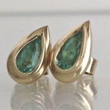 Load image into Gallery viewer, Pear Cut Emerald Dome Stud Earrings 18K Yellow Gold