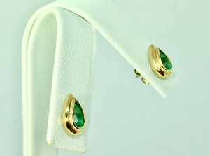 Pear Cut Emerald Dome Stud Earrings 18K Yellow Gold
