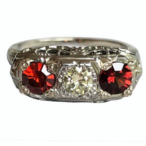 40's Antique Art Deco Filigree 3 Stone Diamond Spinel Ring 18k