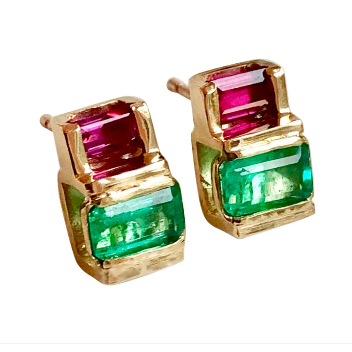 Emerald Ruby 18K Yellow Gold Earrings