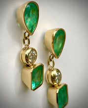 Load image into Gallery viewer, Magnificent 10.12 Carats Natural Colombian Emerald & Diamond Dangle Earrings 18K Yellow Gold