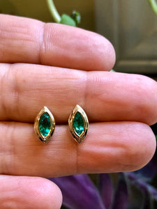 Marquise Emerald Stud Earrings 18 Karat Yellow Gold