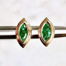 Load image into Gallery viewer, Marquise Emerald Stud Earrings 18 Karat Yellow Gold