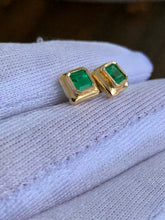 Load image into Gallery viewer, Elegant Stud Earrings Emerald Cut Colombian Emerald 18K