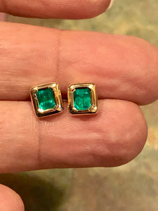 Elegant Stud Earrings Emerald Cut Colombian Emerald 18K