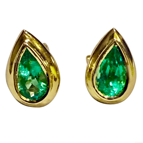 Emerald Dome Stud Pear Cut Earrings 18K Gold