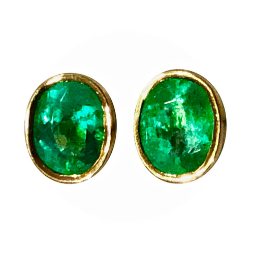 1.20 Carat Natural Colombian Emerald Oval Stud Earrings 18K