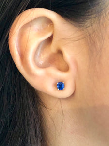 Blue Sapphire Platinum Stud Earrings