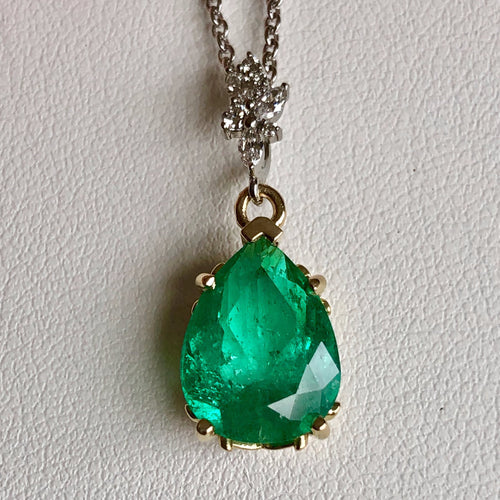 Fine Emerald Diamond Pendant Necklace in 18K and Platinum