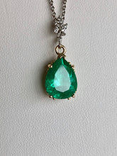 Load image into Gallery viewer, Fine Emerald Diamond Pendant Necklace in 18K and Platinum