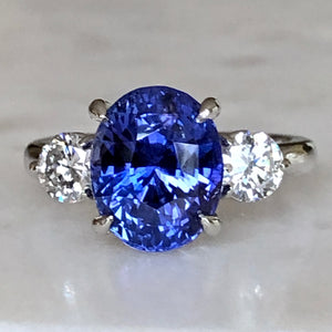 7.18 Carat GIA No Heat Color-Changing Sapphire Diamond Ring 18K
