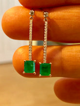 Load image into Gallery viewer, Dangle Colombian Emerald Diamond Earrings Platinum & 18K