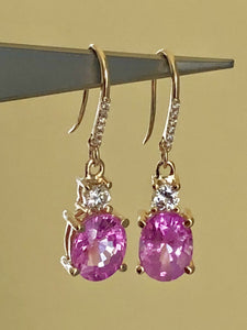 7.25ct Natural Burma Pink Sapphire Diamond Earrings 18k Gold