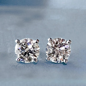 Diamond Platinum Stud Earrings 0.75ct F-VS2