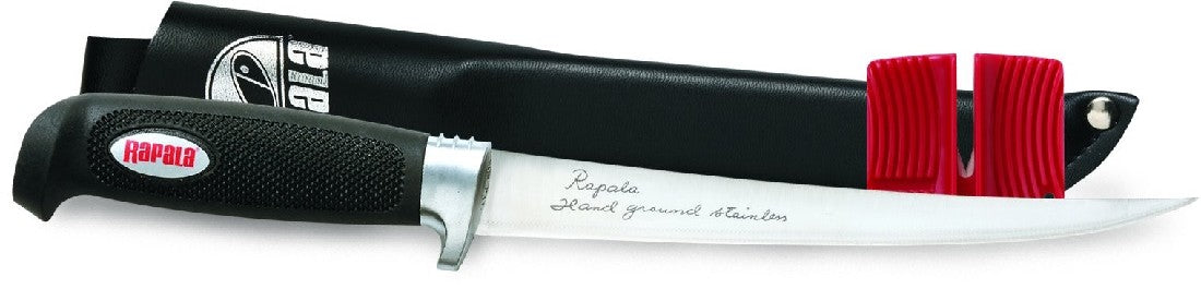 "RAPALA SOFT GRIP 8"" FILLET KNIFE WITH SHARPNER"