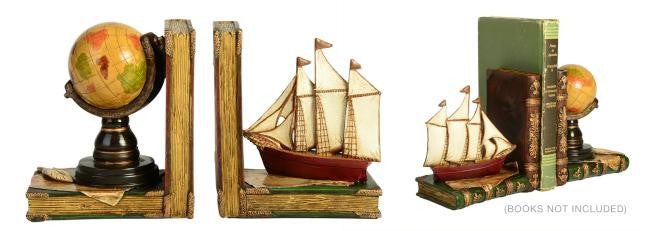 GLOBE AND SAIL BOOKENDS