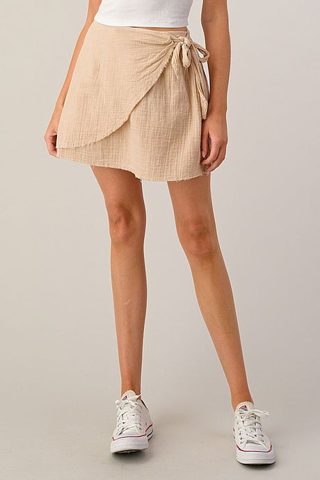 SIDE TIE/FAUX WRAP/RAW EDGE SKIRT/SAND