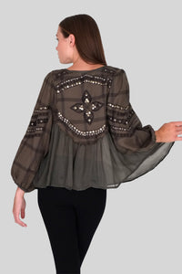 AMOUR EMBROIDERED AND STUDDED TOP
