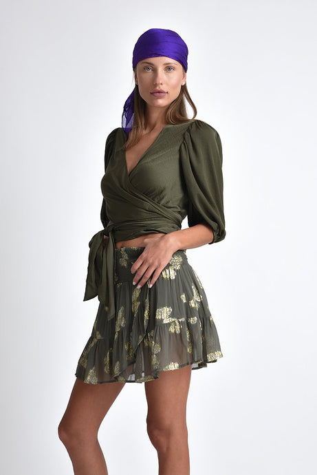 PAPILLON RUFFLE HEM MINI SKIRT