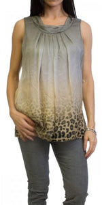 LEOPARD TRIM SLEEVELESS BLOUSE