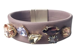 DUSTY PINK LEATHERETTE WITH MULTI COLOR CRYSTALS BRACELET