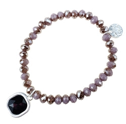 LAVENDER PURPLE STRETCH BEADS WITH SQUARE PURPLE GEM DROP BRACELET
