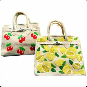 LEMON JUTE BELTED HANDBAG