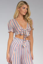 CROPPED OPEN FRONT TIE TOP-MULTI STRIPE