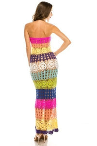 CHY CROCHET RAINBOW MAXI DRESS