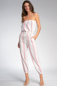 STRAPLESS MULTI STRIPED JUMPSUIT
