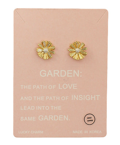 FLOWER TWO TONE STUD EARRINGS- GOLD/WHITE