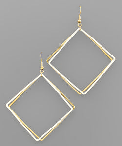 2 SQUARE DANGLE EARRINGS IN GOLD/WHITE