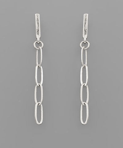 BAR W/OVAL CHAIN DROP EARRINGS