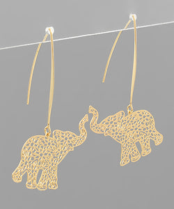FILIGREE ELEPHANT DANGLE EARRINGS