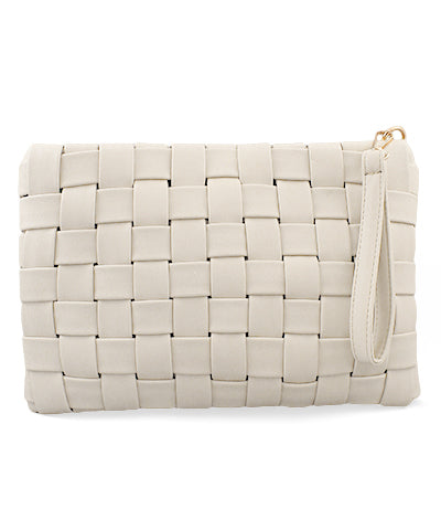 RECTANGLE WOVEN LEATHER CLUTCH